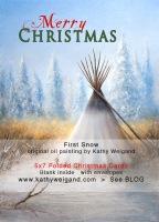 2012 Christmas Cards… 'First Snow' Oil Painting + Fredericksburg Tx