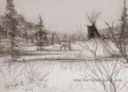 First pencil sketch for 2014! Native American Teepee & Cowboy Western Art,  Fredericksburg Texas Art, Western Galleries