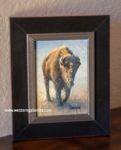 """Buffalo Walking"" oil"