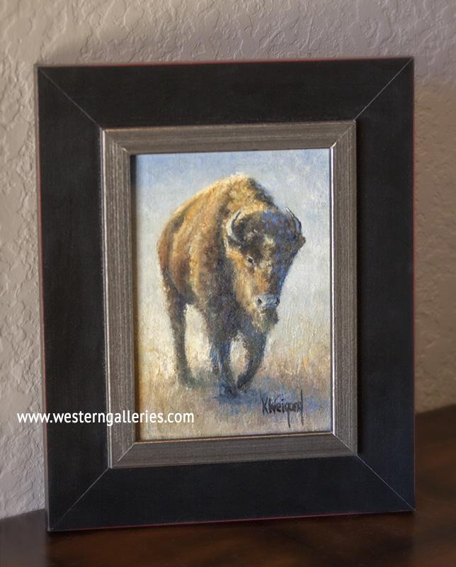 """""""Buffalo Walking"""" oil"""